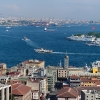 Панорама от Кулата в Галата. Виждат се Златния рог, Босфора, Света София, Синята джамия, Топкапъ и др